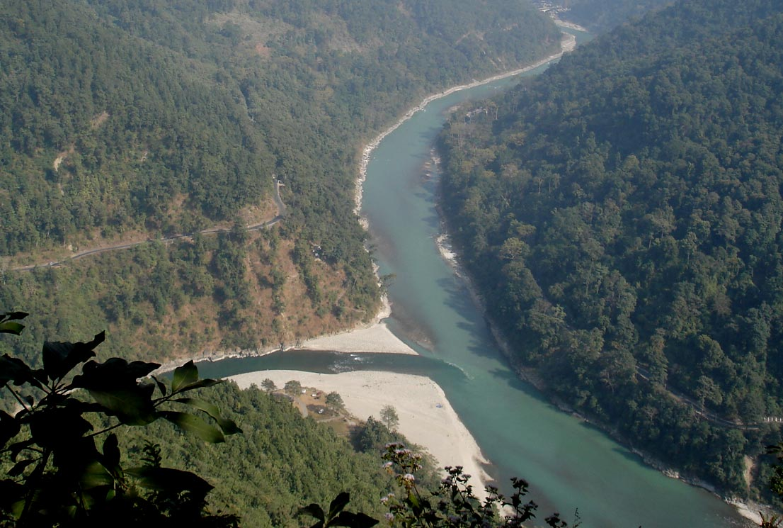 The confluence of the Teesta and Rangit rivers